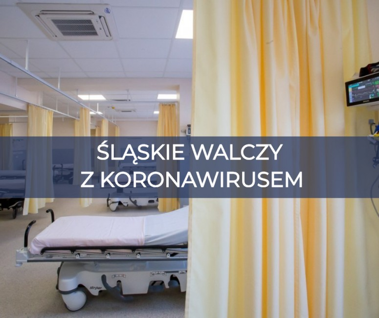 """napis """"ŚLĄSKIE WALCZY Z KORONAWIRUSEM"""" na tle sali szpitalnej, widoczne łóżko szpitalne, parawan oraz fragment kardiomonitora"""