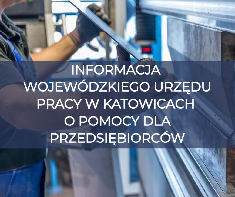 """na obrazie jest napis """"Informacja Wojewódzkiego Urzędu Pracy w Katowicach o pomocy dla przedsiębiorców"""", jaki jest nałożony na stanowisko pracy pracownika działu produkcji w jednej z firm"""