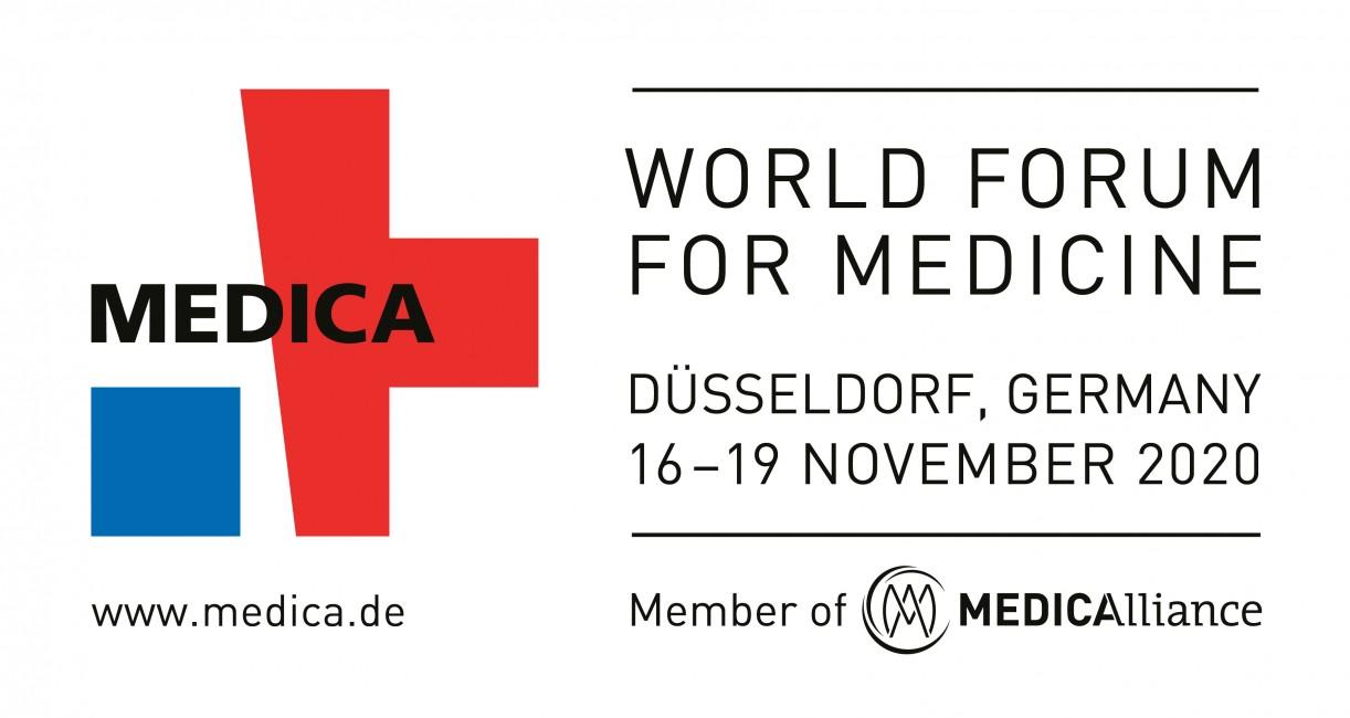 znak graficzny targów Medica wraz z ich nazwą w języku angielskim