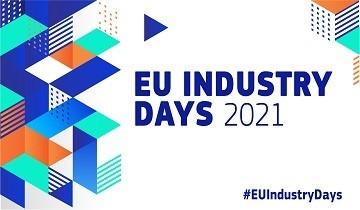 logo wydarzenia : Europejskie Dni Przemysłu 2021 przedstawia kolorowe kostki na białym tle