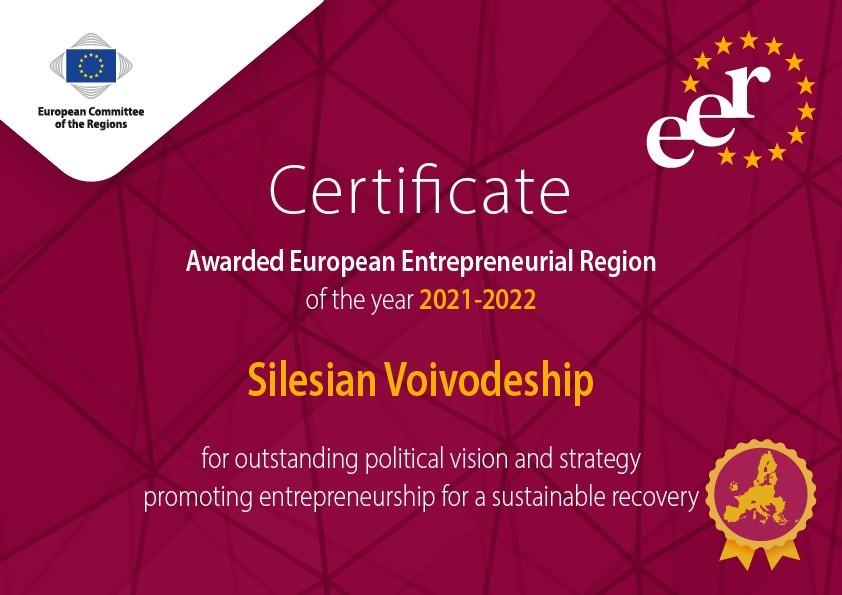 """Zdjęcie do wiadomości: Śląskie laureatem nagrody """"Europejski Region Przedsiębiorczości"""""""