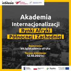 zaproszenie na Akademię Internacjonalizacji przedstawia w tle  krajobraz Afryki w kolorach szarości z napisami w żółtych ramkach