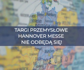 """Zdjęcie przedstawia mapę Niemiec, na jaką nałożony jest napis """"TARGI PRZEMYSŁOWE HANNOVER MESSE NIE ODBĘDĄ SIĘ!"""""""