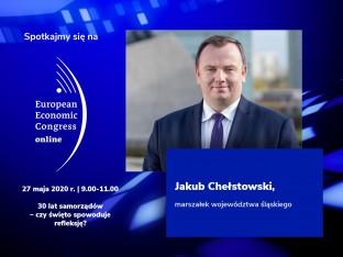 grafika do debaty 30 lat samorządów oraz zdjęcie marszałka województwa śląskiego J.Chełstowskiego