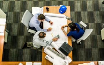 praca, spotkanie, osoby, stół, komputer