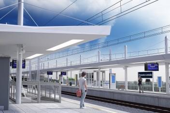 Wizualizacja torów do Pyrzowic i stacji na lotnisku - grafika PKP PLK