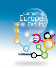 Logo programu Łącząć Europę w wersji angielskiej pod nazwą Connecting Europe Facility