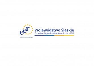 logo Europejski Region Przedsiębiorczości niebieskie napisy a wokół żółte gwiazdki